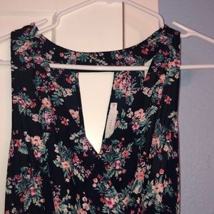 Lush dress- v neck. Navy with cute floral design.